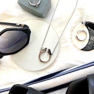Rebecca Geometric Pearl Pendant Necklace